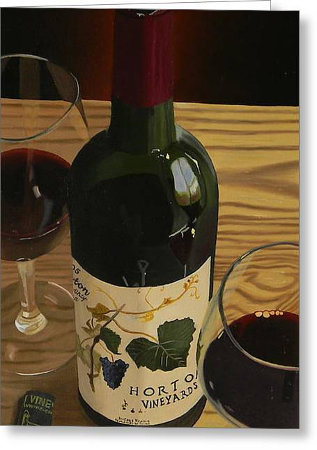 Red Wine Prints Greeting Cards - Country Livin Greeting Card by Brien Cole