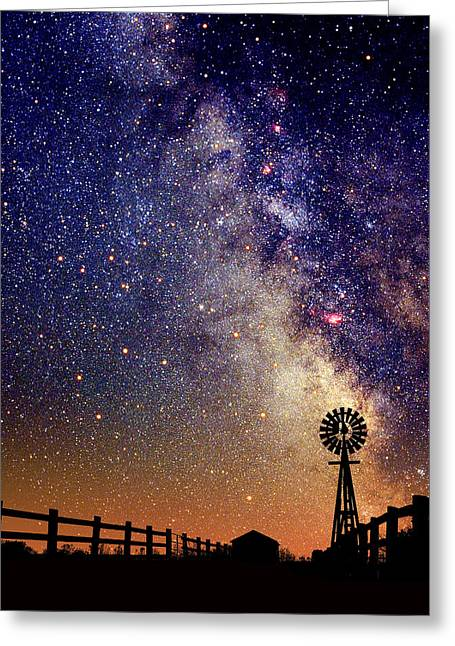 Light Pollution Greeting Cards - Country Milky Way Greeting Card by Larry Landolfi
