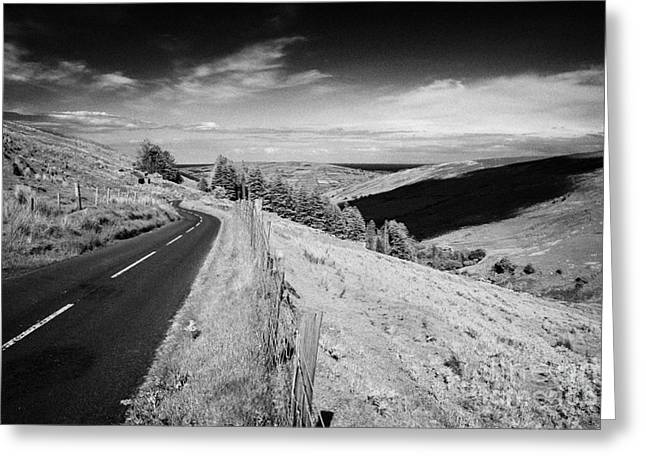 Mountain Road Greeting Cards - Country Mountain Road Through Glenaan Scenic Route Glenaan County Antrim Northern Ireland  Greeting Card by Joe Fox
