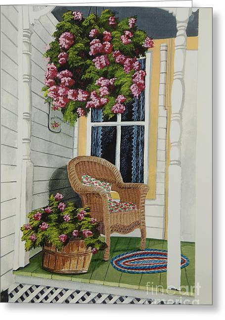 Basket Of Flowers Greeting Cards - Country Porch Greeting Card by Charlotte Blanchard