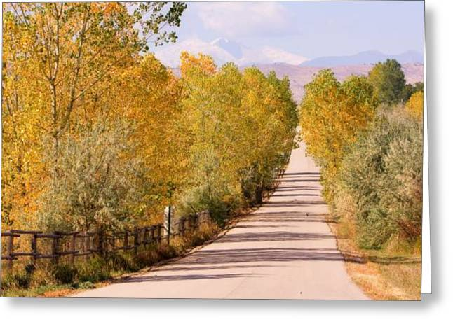 Mountain Road Greeting Cards - Country Road Autumn Fall Foliage View of the Twin Peaks Greeting Card by James BO  Insogna