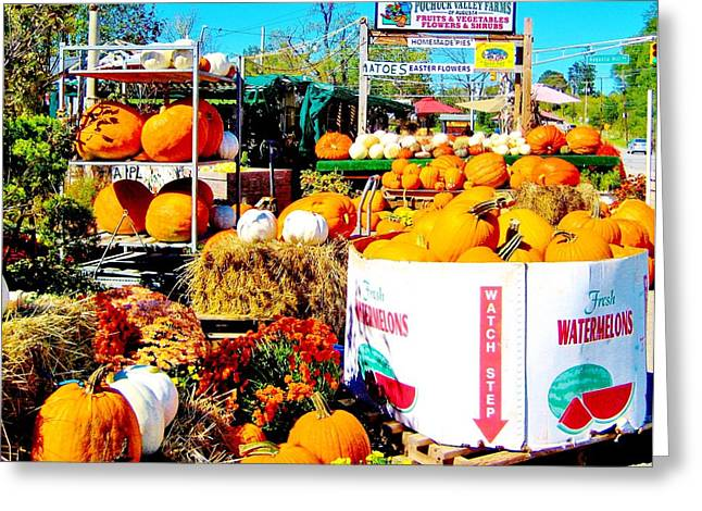 Nj Farm Stand Greeting Cards - Country Road Farm Stand Greeting Card by Susan Carella