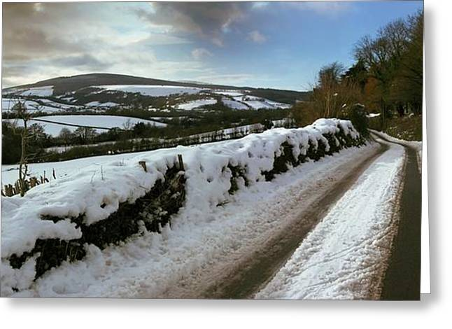 Wintry Greeting Cards - Country Road In Winter Greeting Card by Tony Craddock