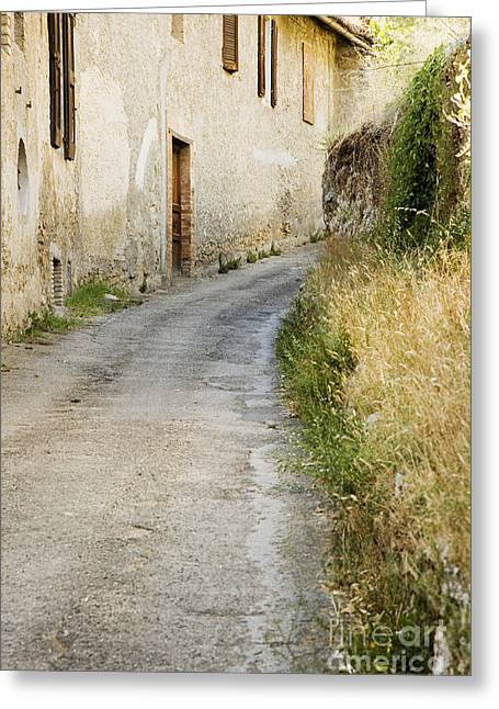 Old Country Roads Greeting Cards - Country Road Passing House Greeting Card by Andersen Ross