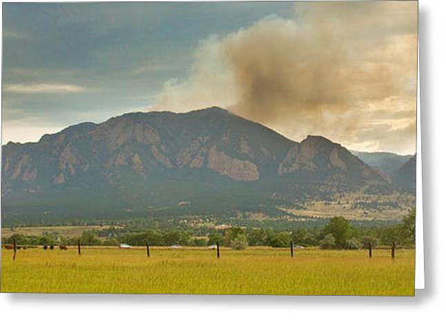 Flagstaff Greeting Cards - Country View of the Flagstaff Fire Panorama Greeting Card by James BO  Insogna