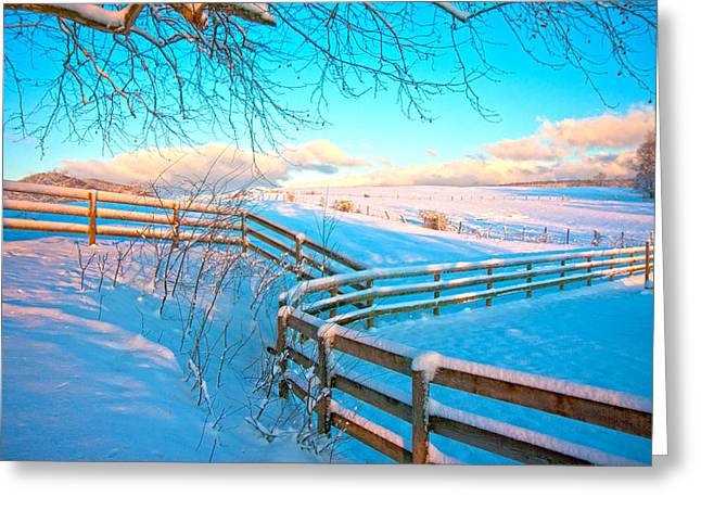 Fence Line Greeting Cards - Country Winter Greeting Card by Betsy C  Knapp