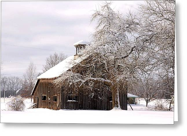Country Winter Greeting Card by Monica Lewis