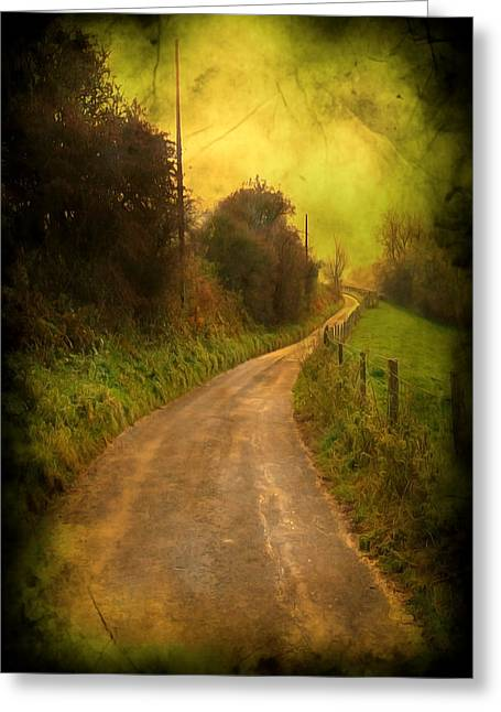 Mystic Art Greeting Cards - Countryside Road Greeting Card by Svetlana Sewell