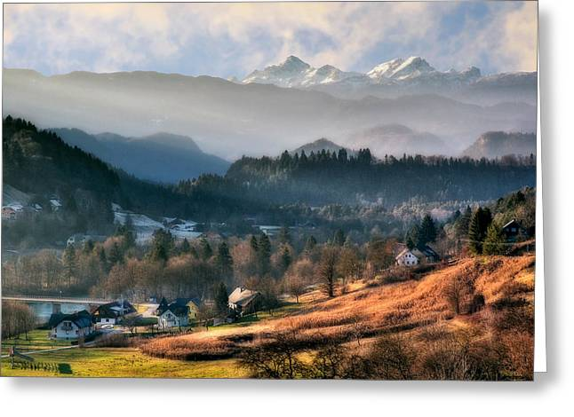Sun Peaks Resort Greeting Cards - Countryside. Slovenia Greeting Card by Juan Carlos Ferro Duque