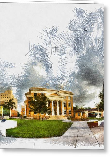 Manatee Co. Greeting Cards - County Courhouse - Sketch Greeting Card by Nicholas Evans