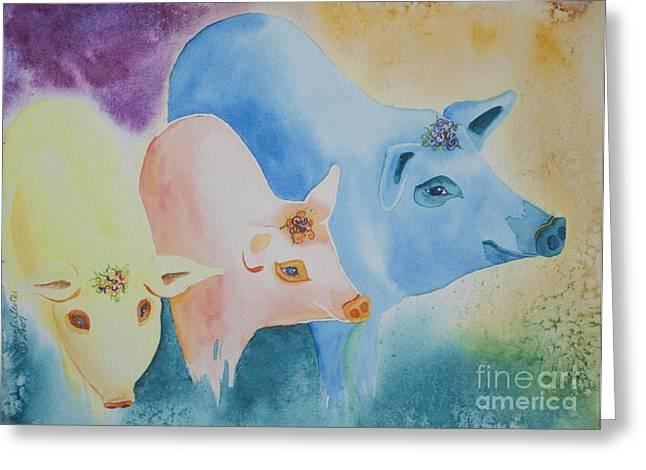 Piglets Greeting Cards - County Fair Greeting Card by Tracy L Teeter