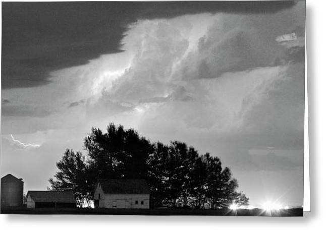 Ft Collins Greeting Cards - County Line Northern Colorado Lightning Storm BW Pano Greeting Card by James BO  Insogna