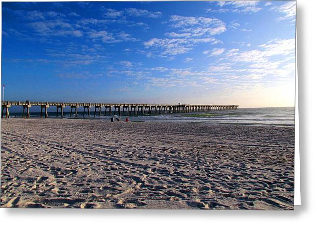 Panama City Beach Fl Greeting Cards - County Pier Greeting Card by Victor Pacheco