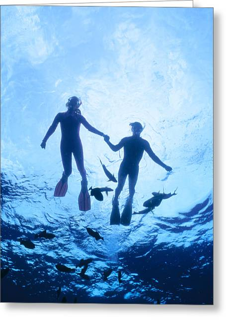 Snorkeling Photos Greeting Cards - Couple At The Surface Greeting Card by Ed Robinson - Printscapes