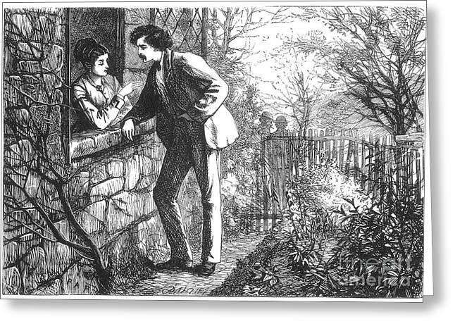 1880s Greeting Cards - COUPLE, c1880 Greeting Card by Granger