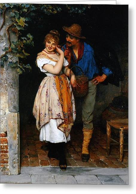 Flirting Greeting Cards - Couple Courting Greeting Card by Eugen von Blaas