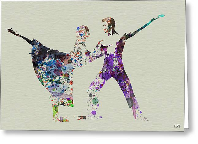 Silhouette Paintings Greeting Cards - Couple Dancing Ballet Greeting Card by Naxart Studio