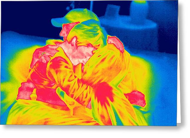 Couple Hugging Greeting Cards - Couple Hugging, Thermogram Greeting Card by Tony Mcconnell