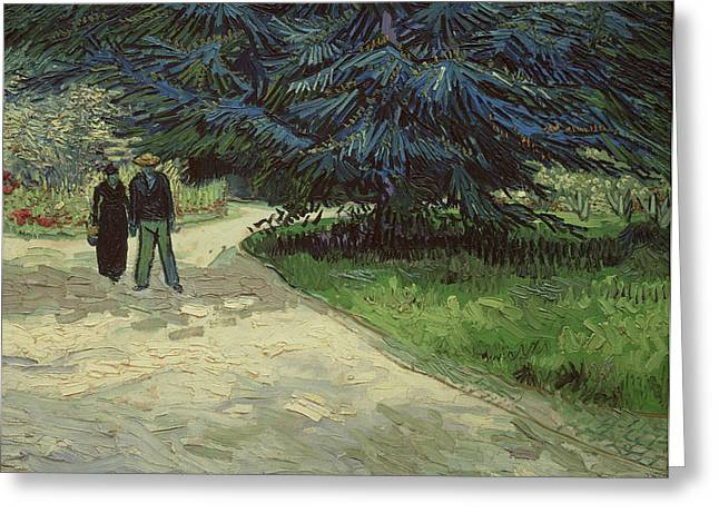 February Greeting Cards - Couple in the Park Greeting Card by Vincent Van Gogh