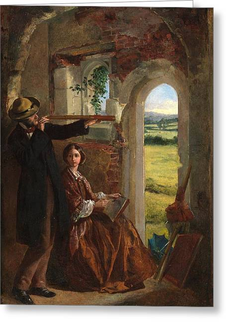 Older Couple Greeting Cards - Couple Observing a Landscape Greeting Card by English School