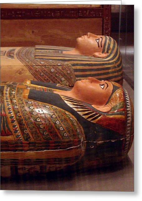 Hathor Greeting Cards - Couple of Sarcophagi Greeting Card by Richard Deurer