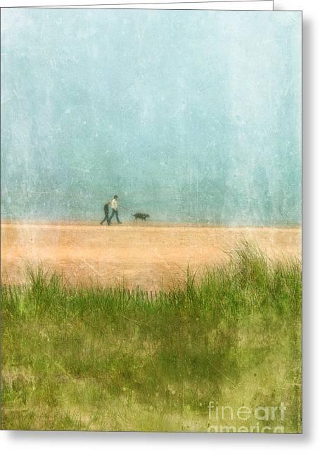 Couple On Beach With Dog Greeting Card by Jill Battaglia