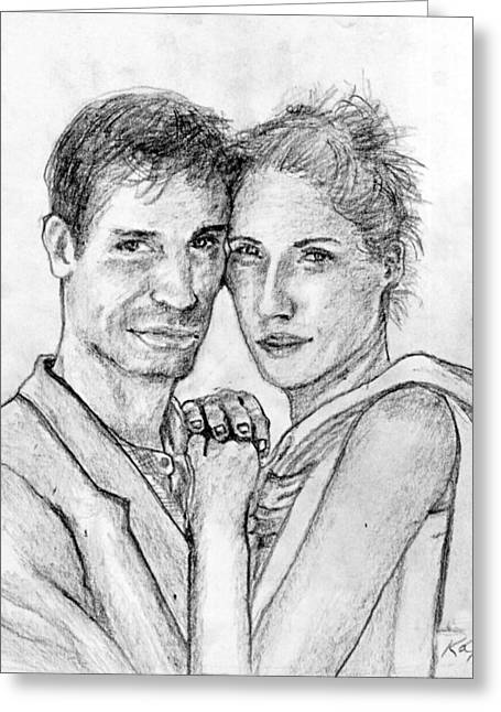 Eyelash Drawings Greeting Cards - Couple Pencil Portrait Greeting Card by Romy Galicia