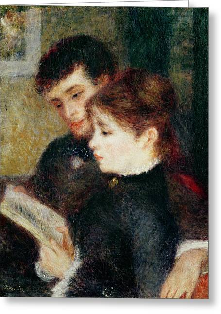 Lesson Greeting Cards - Couple Reading Greeting Card by Pierre Auguste Renoir