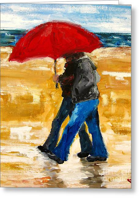 At Work Greeting Cards - Couple under a Red Umbrella Greeting Card by Patricia Awapara