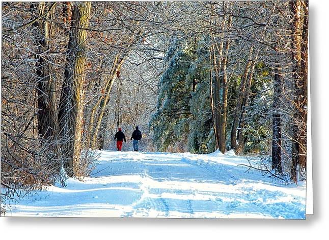 Myeress Greeting Cards - Couple Walking in the Snow Greeting Card by Joe Myeress