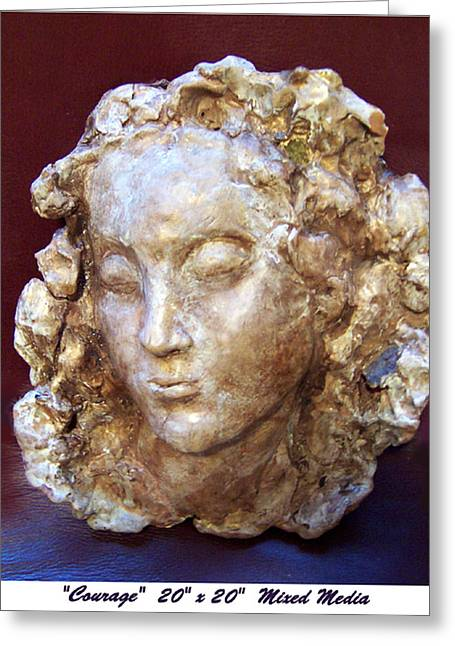 Women Sculptures Greeting Cards - Courage Greeting Card by Beverly Barris