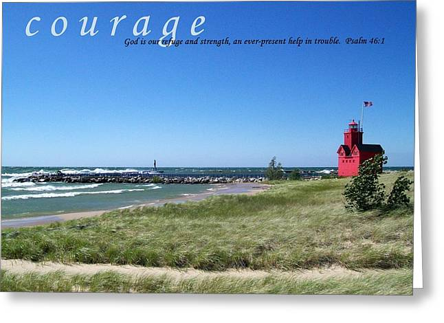 Motivational Poster Photographs Greeting Cards - Courage Greeting Card by Michelle Calkins
