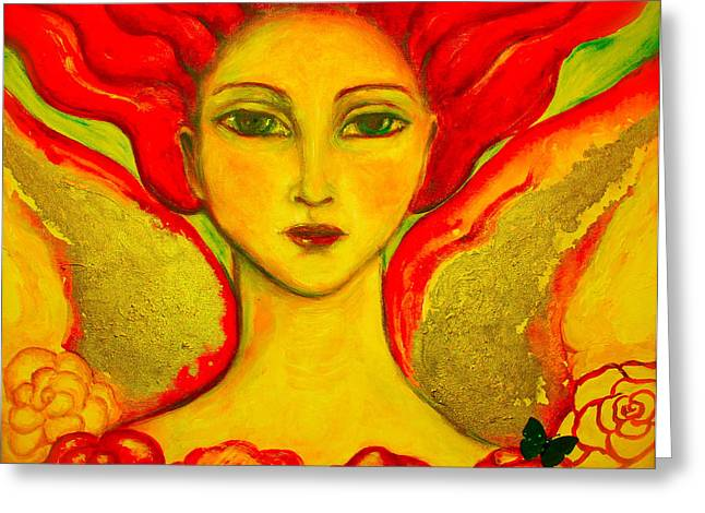 Metaphysics Paintings Greeting Cards - Courage Greeting Card by Shoshanna Lightsmith