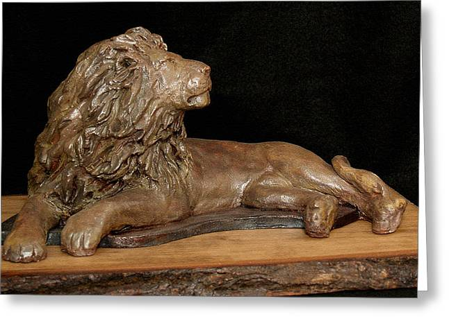 Lions Sculptures Greeting Cards - Courage Greeting Card by Wayne Headley