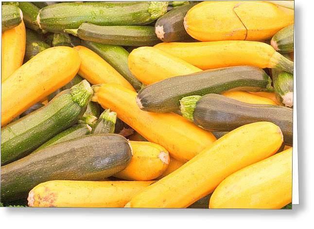 Healthy-lifestyle Greeting Cards - Courgettes Greeting Card by Tom Gowanlock