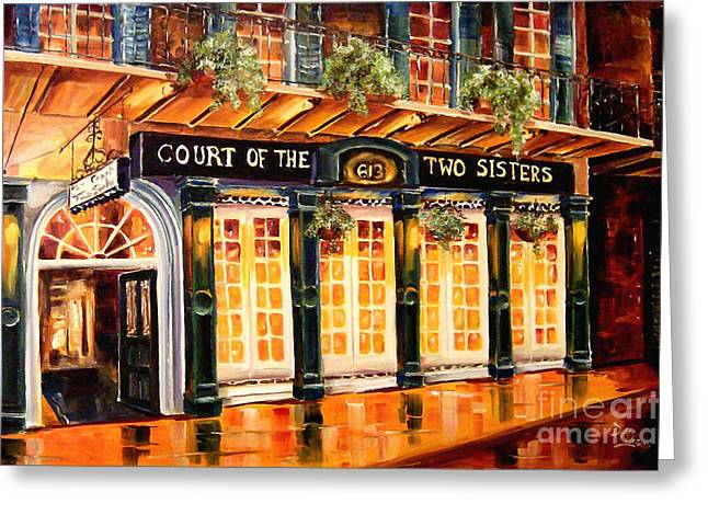 Street Lights Greeting Cards - Court of the Two Sisters Greeting Card by Diane Millsap