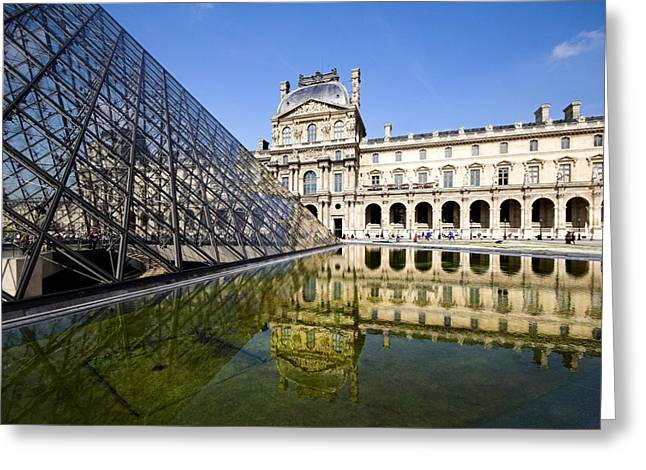 Pyramids Greeting Cards - Court yard view of the pyramid at the Louvre museum Paris Greeting Card by Pierre Leclerc Photography