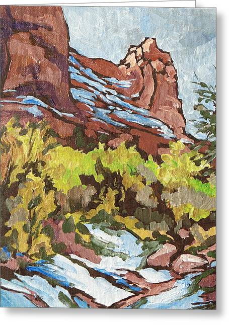 Courthouse Rock Greeting Card by Sandy Tracey