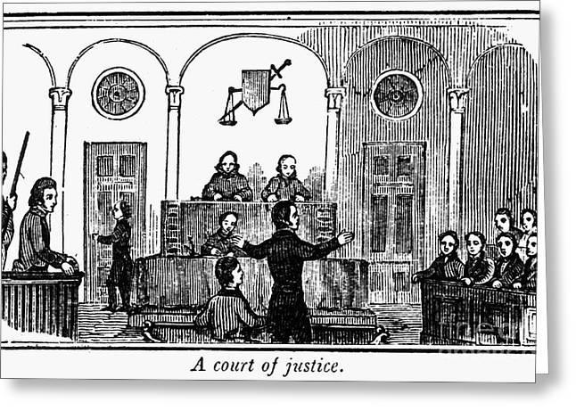 Defendant Greeting Cards - Courtroom, 1842 Greeting Card by Granger