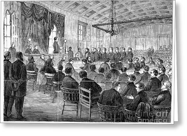 Cole Greeting Cards - Courtroom Trial, 1868 Greeting Card by Granger