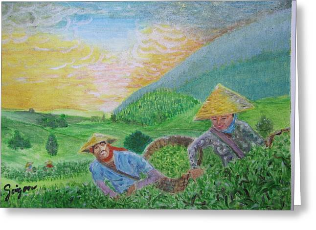 Harvest Time Greeting Cards - Courtship at the tea-farm Greeting Card by SAIGON De Manila
