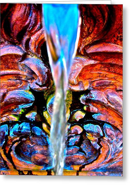 Water Garden Greeting Cards - Courtyard Fountain Greeting Card by Gwyn Newcombe
