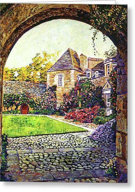 Stone House Paintings Greeting Cards - Courtyard Impressions Provence Greeting Card by David Lloyd Glover