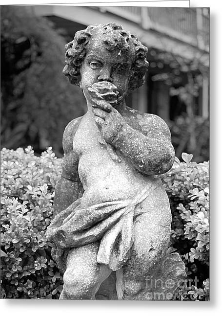 Garden Statuary Greeting Cards - Courtyard Statue of a Cherub French Quarter New Orleans Black and White Accented Edges Digital Art Greeting Card by Shawn O