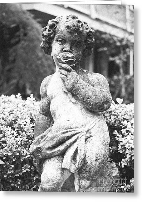 Garden Statuary Greeting Cards - Courtyard Statue of a Cherub French Quarter New Orleans Black and White Film Grain Digital Art Greeting Card by Shawn O