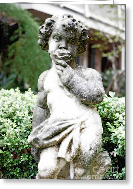 Garden Statuary Greeting Cards - Courtyard Statue of a Cherub Smelling a Rose French Quarter New Orleans Diffuse Glow Digital Art Greeting Card by Shawn O