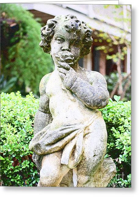 Garden Statuary Greeting Cards - Courtyard Statue of a Cherub Smelling a Rose French Quarter New Orleans Film Grain Digital Art Greeting Card by Shawn O