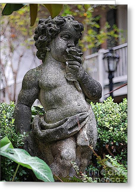 Garden Statuary Greeting Cards - Courtyard Statue of a Cherub Smelling a Rose French Quarter New Orleans Poster Edges Digital Art Greeting Card by Shawn O