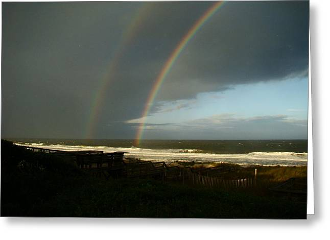 Atlantic Beaches Pyrography Greeting Cards - Covenant Rainbow Greeting Card by Joe Byrd