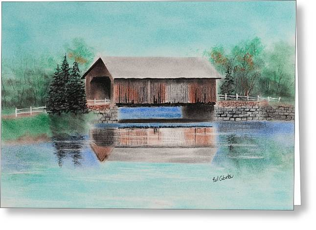 Covered Bridge Pastels Greeting Cards - Covered Bridge Allegheny County Greeting Card by Paul Cubeta